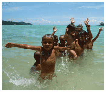 Moken children are home at the Mu Koh Surin National Marine Park islands in Thailand