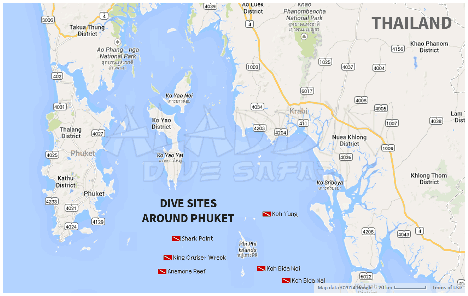 Map of the dive sites around Phuket in Thailand