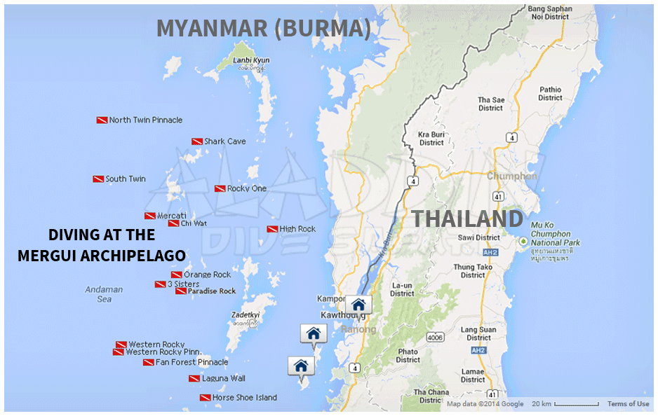 map of the dive sites at the Mergui Archipelago
