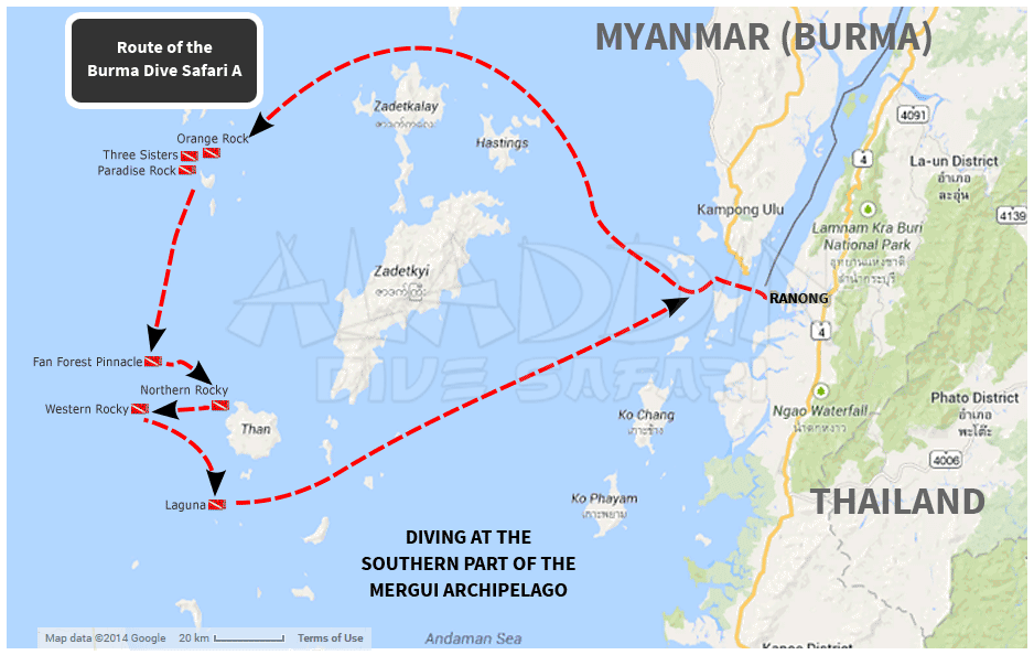 Map with the route of the Burma Dive Safari A