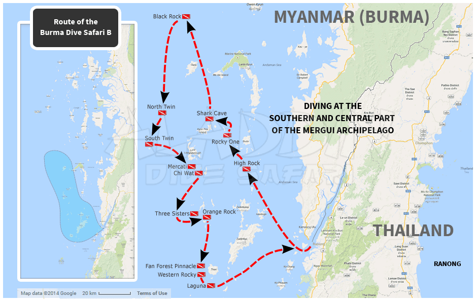 Map with the route of the Burma Dive Safari B