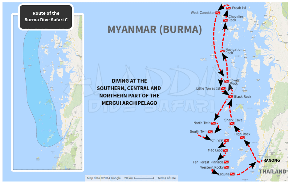 Map with the route of the Burma Dive Safari C
