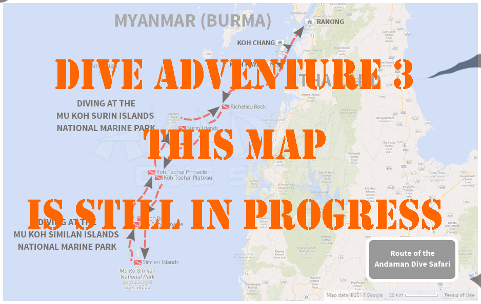 Map with the tour of the Dive Adventure 3