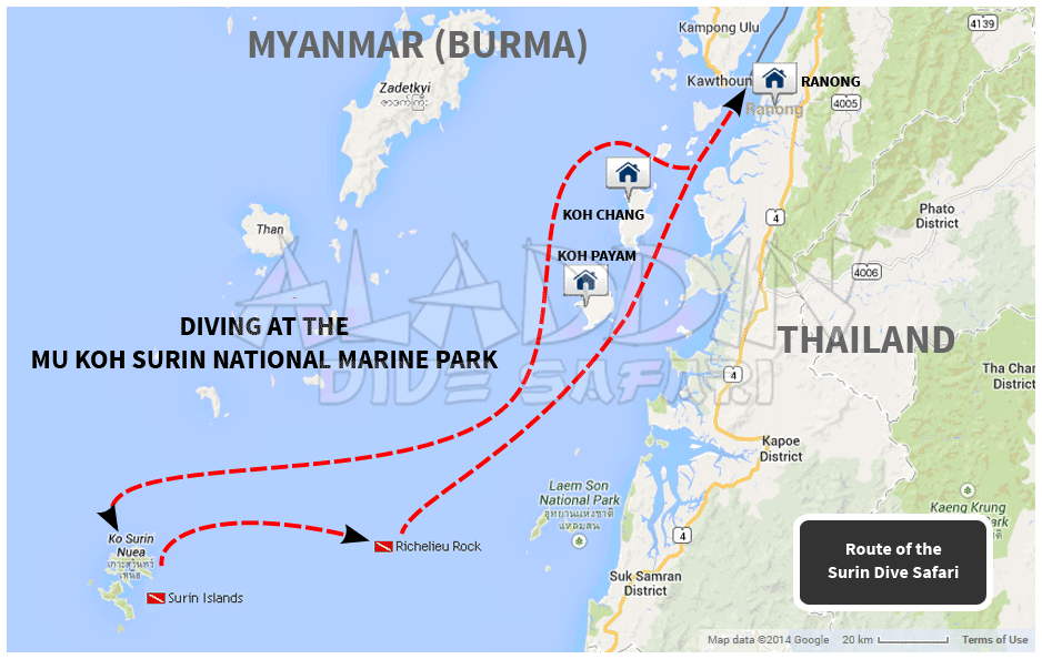 Map with the tour of the Surin Dive Safari